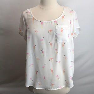Torrid button back flamingo blouse